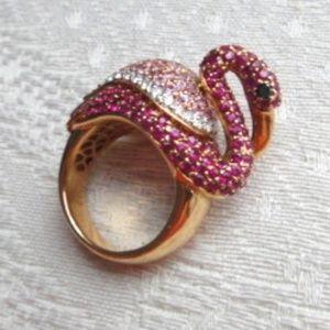 Pink Flamingo Ring: Ruby, Pink Sapphire, Diamonds